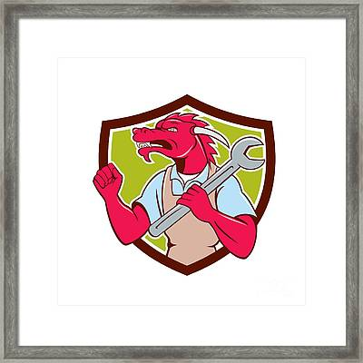 Red Dragon Mechanic Spanner Fist Pump Shield Framed Print