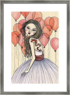 Red Dragon Framed Print by Snezana Kragulj