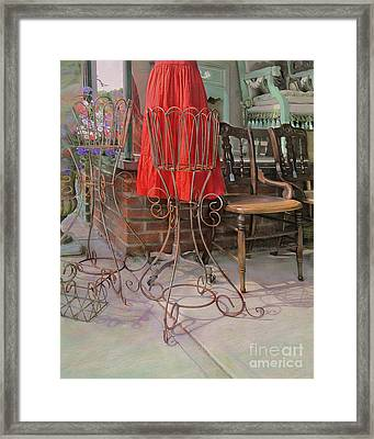 Red Dress In Vintage Storefront Framed Print