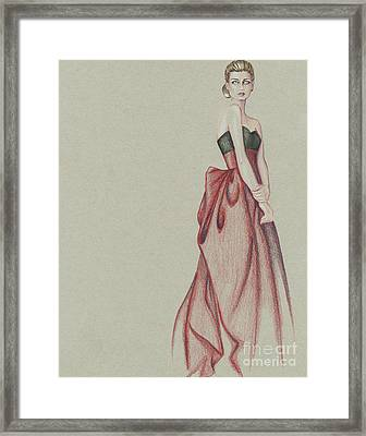 Red Dress Lady Framed Print by Samantha Burns