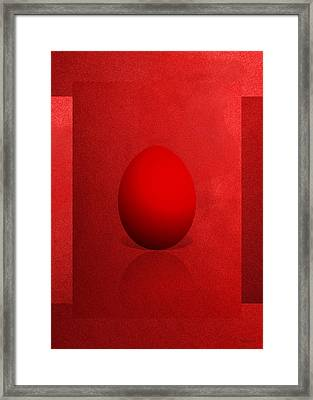 Red Egg On Red Canvas  Framed Print by Serge Averbukh