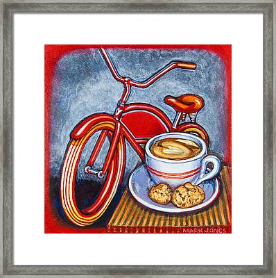 Red Electra Delivery Bicycle Cappuccino And Amaretti Framed Print by Mark Jones