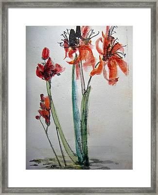 Framed Print featuring the painting Red Energy by Debbi Saccomanno Chan