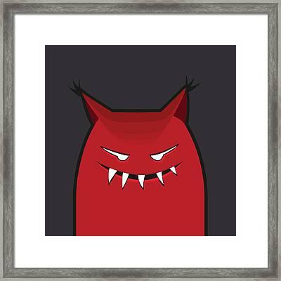 Red Evil Monster With Pointy Ears Framed Print by Boriana Giormova