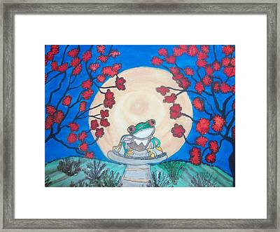Framed Print featuring the painting Red Eyed Frog Singing To The Moon by Connie Valasco