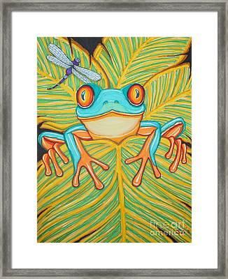 Red Eyed Tree Frog And Dragonfly Framed Print by Nick Gustafson