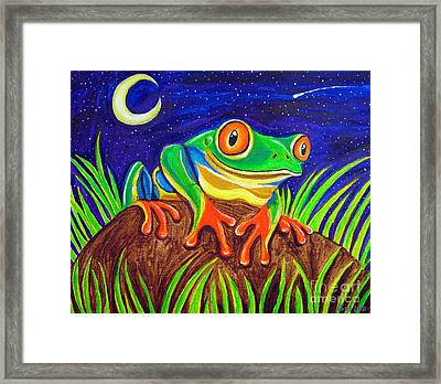 Red-eyed Tree Frog And Starry Night Framed Print by Nick Gustafson