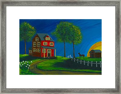 Framed Print featuring the painting Red Farm House by Gail Finn