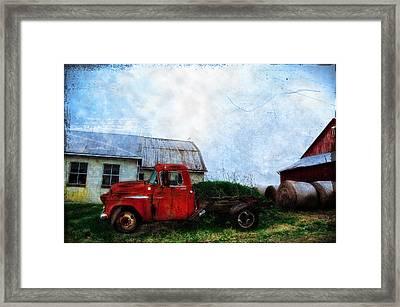 Red Farm Truck Framed Print