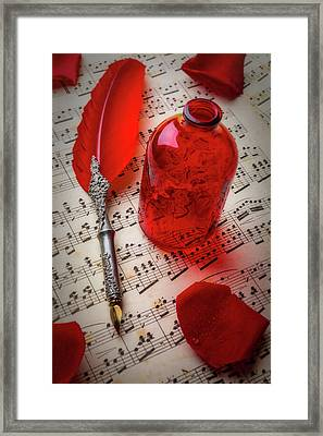 Red Feather Pen And Bottle Framed Print