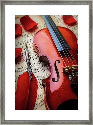 Red Feather Pen And Violin Framed Print by Garry Gay