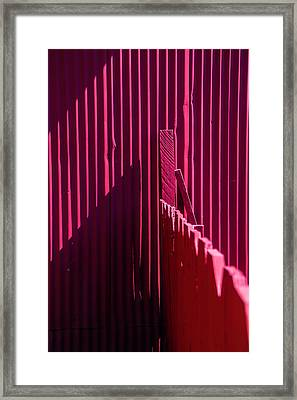 Red Fence And Wall Framed Print