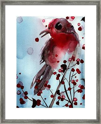 Red Finch In The Winterberry Framed Print by Dawn Derman