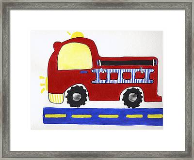Red Fire Truck Framed Print by Christine Quimby