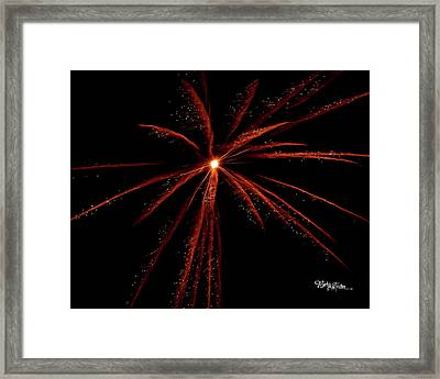 Framed Print featuring the photograph Red Fireworks #0699 by Barbara Tristan