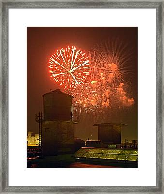 Red Fireworks Framed Print