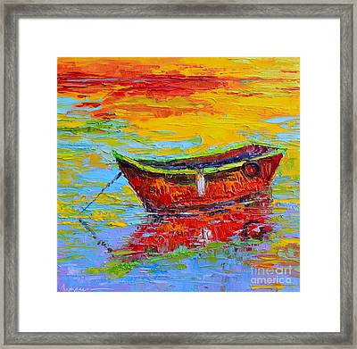 Red Fishing Boat At Sunset - Modern Impressionist Knife Palette Oil Painting Framed Print by Patricia Awapara