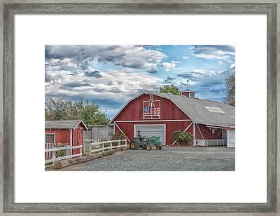 Red Flag Barn Framed Print