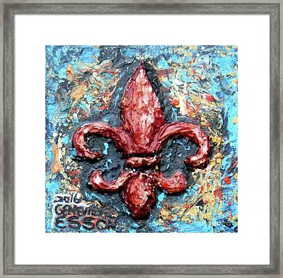 Red Fleur De Lis Framed Print
