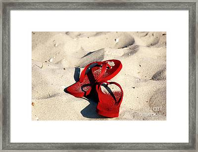Framed Print featuring the photograph Red Flip Flops by John Rizzuto