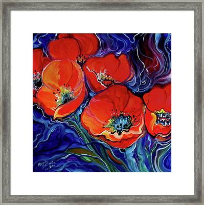 Red Floral Abstract Framed Print by Marcia Baldwin