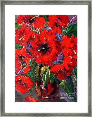 Red Floral Framed Print