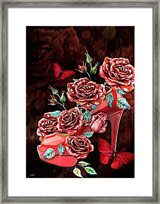 Red Floral Heels Framed Print by G Berry