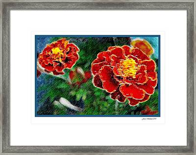 Framed Print featuring the photograph Red Flower In Autumn by Joan  Minchak