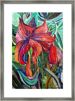Red Flower Framed Print by Mindy Newman