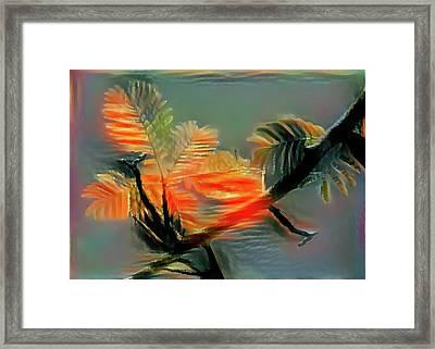 Red Flower On Blue Sky Framed Print by Evgeny Parushin