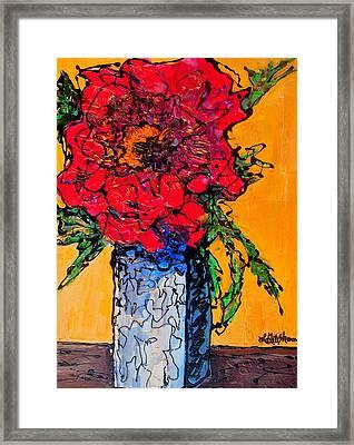 Red Flower Square Vase Framed Print