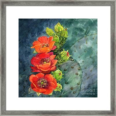 Red Flowering Prickly Pear Cactus Framed Print