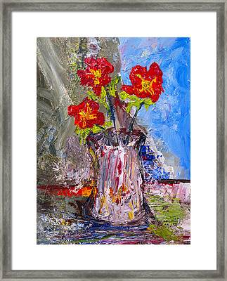 Red Flowers Framed Print by Donald  Erickson