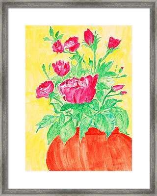 Red Flowers In A Brown Vase Framed Print