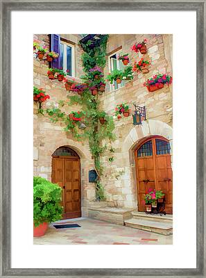 Red Flowers On The Wall II Framed Print