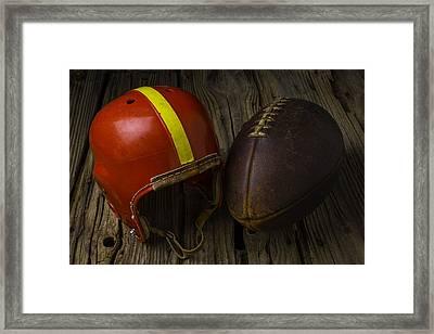 Red Football Helmet Framed Print