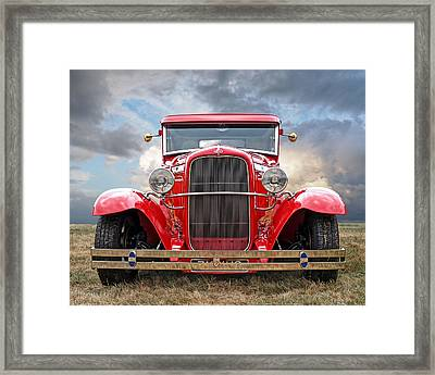 Red Ford Coupe Head On Framed Print by Gill Billington
