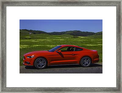 Red Ford Mustang Framed Print by Garry Gay