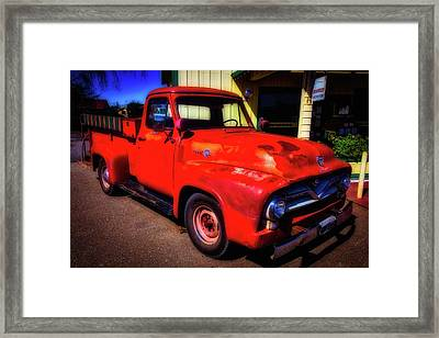 Red Ford Pick Up Framed Print by Garry Gay