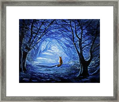 Red Fox In Blue Cypress Grove Framed Print by Laura Iverson