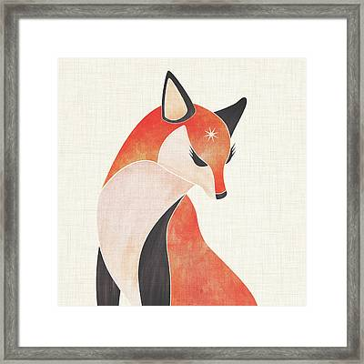 Framed Print featuring the painting Red Fox by Kristian Gallagher