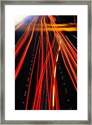 Red Freeway Tail Lights Framed Print by Garry Gay