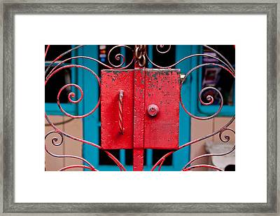 Red Gate In Santa Fe Framed Print by Art Block Collections