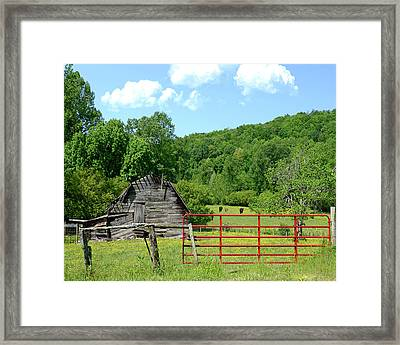 Red Gate Framed Print by Susan Leggett