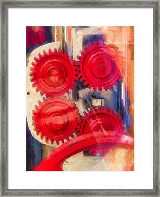 Red Gear Framed Print by Lutz Baar