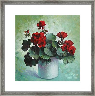 Framed Print featuring the painting Red Geranium by Elena Oleniuc