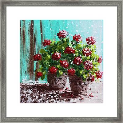 Red Geranium Flowers Framed Print by Kume Bryant