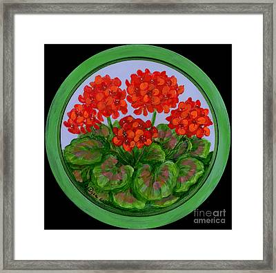 Red Geranium On Wood Framed Print by Anna Folkartanna Maciejewska-Dyba