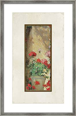 Red Geranium Pots Framed Print