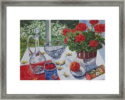 Red Geraniums Framed Print